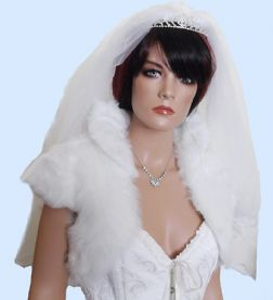 White Bridal Fur Bolero Jacket